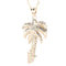 Hawaiian Jewelry 14K Yellow Gold Palm Tree Pendant(Chain sold separately) - Hanalei Jeweler