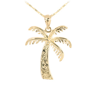 Yellow Gold Palm Tree Pendant(M) - Hanalei Jeweler