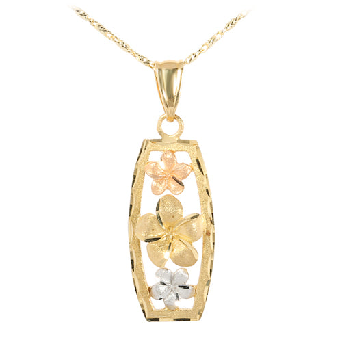 14K Tri-Color Gold Three Plumeria Vertical Pendant(L) - Hanalei Jeweler