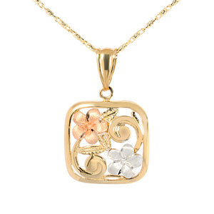 14K Tri-Color Two Plumeria Scroll Square Pendant - Hanalei Jeweler