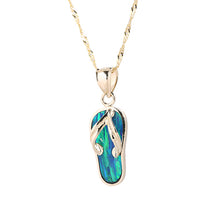 Yellow Gold Opal Inlaid Slipper(Flip Flop) Pendant(Chain Sold Separately) - Hanalei Jeweler