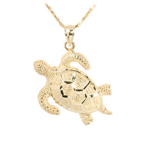 Yellow Gold Turtle Pendant(L) - Hanalei Jeweler