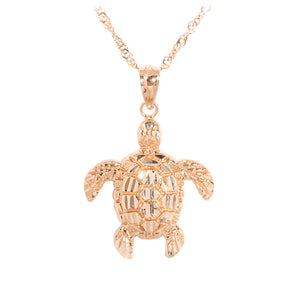 Pink Gold Turtle Pendant(M)