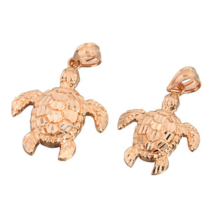 Pink Gold Turtle Pendant(S, M)