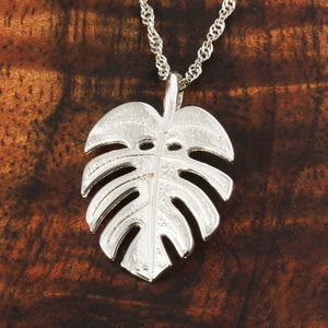 Monstera Lear Pendant 14k White Gold - Hanalei Jeweler