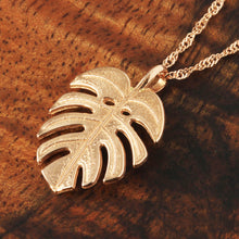 Monstera Leaf Pendant 14k Pink Gold