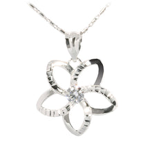 14K White Gold Plumeria Pendant with Clear CZ - Hanalei Jeweler