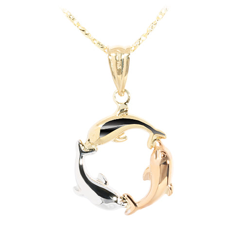 14K Gold Tri-Color Swimming Dolphin Pendant - Hanalei Jeweler