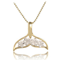 Two Tone 14K Yellow Gold/White GoldWhaletail Plumeria Pendant