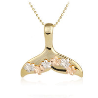 14k Yellow Gold High Polish Whaletail Tri-color Plumeria Pendant Necklace