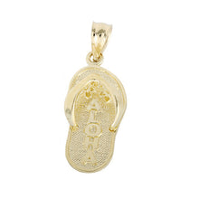 14K Yellow Gold slipper (flip flop) Aloha pendant - Hanalei Jeweler