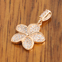 14K Pink Gold Plumeria Pendant with Pave Clear CZ Set - Hanalei Jeweler
