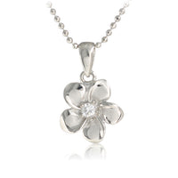 14K White Gold Plumeria Pendant with Clear CZ(XS, S, M, L) - Hanalei Jeweler