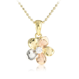 Hawaiian Jewelry 14K Yellow Gold Tri-color Plumeria with CZ Pendant - Hanalei Jeweler
