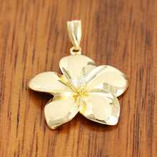 14K Yellow Gold Plumeria Pendant with Clear CZ(XS, S, M, L) - Hanalei Jeweler