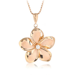 14K Pink Gold Plumeria Pendant with Clear CZ(XS, S, M, L) - Hanalei Jeweler