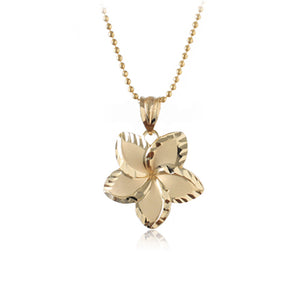 14K Yellow Gold Plumeria Pendant with 18mm - Hanalei Jeweler