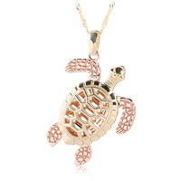 14K Gold Hawaiian Jewelry Yellow Gold/Pink Gold Two Tone Turtle Pendant