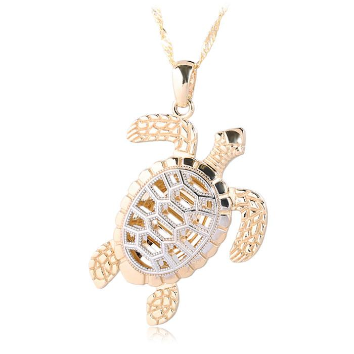 14K Gold Hawaiian Jewelry Yellow Gold/White Gold Two Tone Turtle Pendant - Hanalei Jeweler