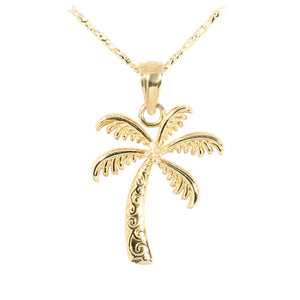 14K Yellow Gold Hawaiian Jewelry Palm Tree Pendant - Hanalei Jeweler