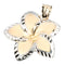 14K Yellow Gold and White Gold Two Tone Plumeria Pendant(22mm) - Hanalei Jeweler