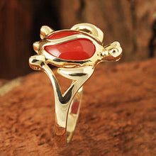 14K Yellow Gold Honu Style with Red Coral Inlaid Hawaiian Ring - Hanalei Jeweler