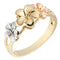 14K Gold Tri-color Triple Plumeria Ring Sandblast Polish Edge 6-8-6 - Hanalei Jeweler