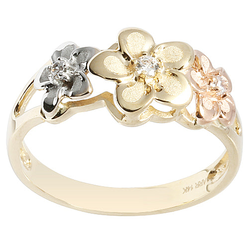 14K Gold Tri-color Triple Plumeria Ring with CZ Sandblast Polish Edge 6-8-6 - Hanalei Jeweler