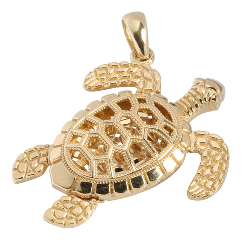 14K Gold Hawaiian Jewelry Turtle Pendant(Chain Sold Separately) - Hanalei Jeweler