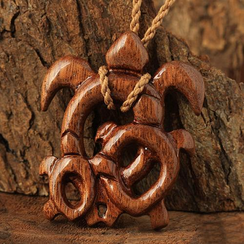 Koa Wood Baby Mom Honu(Hawaiian Turtle) Necklace