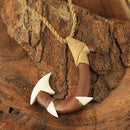 Koa Wood Bone Fish Hook Necklace