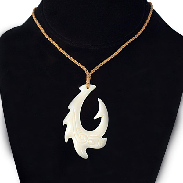 Cow Bone Handcrafted Fish Hook with scroll engraving Necklace - Hanalei Jeweler