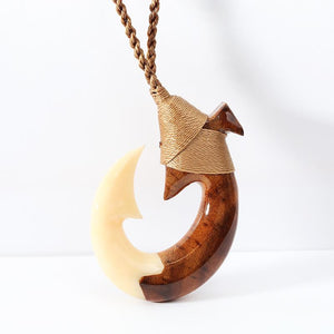 37x51mm Large Fancy Koa Woood/Cow Bone Hand-made Fish Hook Necklace
