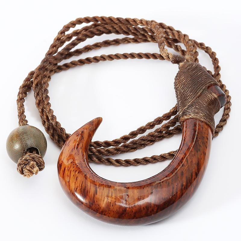 34x50mm Hand-made Koa Wood Fish Hook Necklace Adjustable 26""