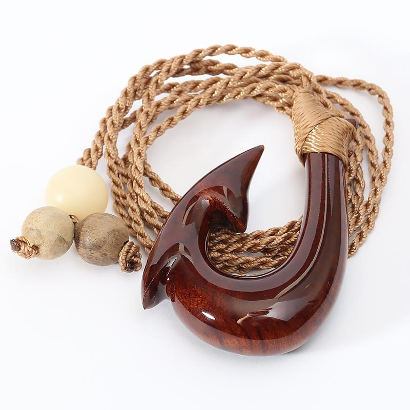 Hand-made Koa Wood Fish Hook Necklace Classic Style