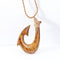 Hand-made Koa Wood Fish Hook Necklace Classic Style Light Brown