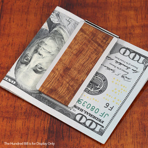 Classic Style Original Hawaii Koa Wood Inlaid Stainless Steel Made Money Clip - Hanalei Jeweler