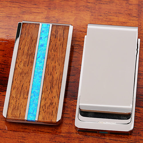 Original Hawaii Koa Wood Center Opal Inlaid Stainless Steel Made Money Clip - Hanalei Jeweler