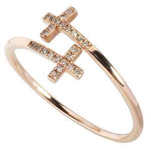 0.06 ct. t.w.  Diamond Ring in Solid 14K Pink Gold Cross - Hanalei Jeweler