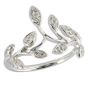 0.27 ct. t.w.  Diamond Ring in Solid 14K White Gold Maile Leaf - Hanalei Jeweler