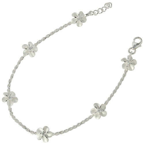 Stelring Silver Rope Chain Plumeria with Clear CZ Links Bracelet - Hanalei Jeweler