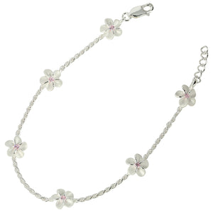 Sterling Silver Rope Chain Plumeria with Pink CZ Links Bracelet - Hanalei Jeweler