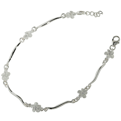 Sterling Silver Hawaiian Plumeria with Clear CZ Wave Bar Links Bracelet