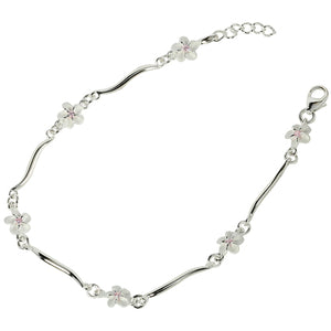 Sterling Silver Hawaiian Plumeria with Pink CZ Wave Bar Links Bracelet