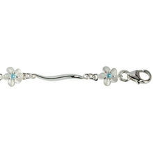 Sterling Silver Hawaiian Plumeria with Blue CZ Wave Bar Links Bracelet - Hanalei Jeweler