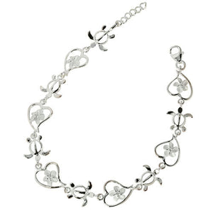 Sterling Silver Hawaiian Turtle Honu Plumeria in Heart Bracelet