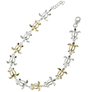 Sterling Silver Hawaiian Turtle Honu One Tone and Yellow Gold Plated Links Bracelet - Hanalei Jeweler