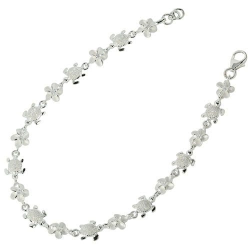 Sterling Silver Hawaiian Turtle(S) + 6mm Plumeria with Clear CZ Bracelet - Hanalei Jeweler