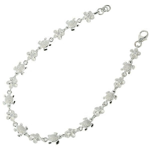 Sterling Silver Hawaiian Turtle(S) + 6mm Plumeria with Clear CZ Bracelet