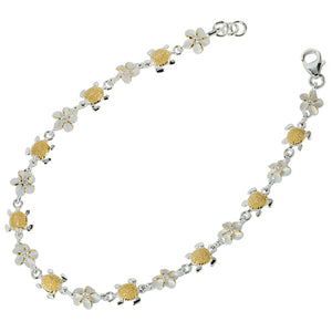 14K Yellow Gold Plated Sterling Silver Hawaiian Turtle(S) + 6mm Plumeria with Clear CZ Bracelet - Hanalei Jeweler